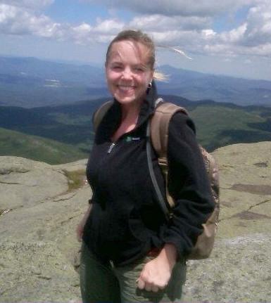 Heather enjoying hiking in the Adirondacks.