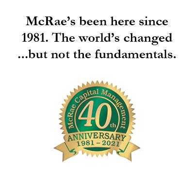 McRae Capital's 40th Anniversary badge.