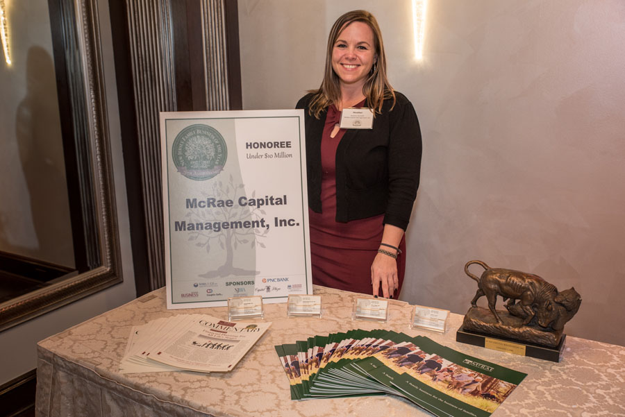 Heather Nemeth of McRae Capital Management represents McRae Capital at the New Jersey Family Business of the Year.