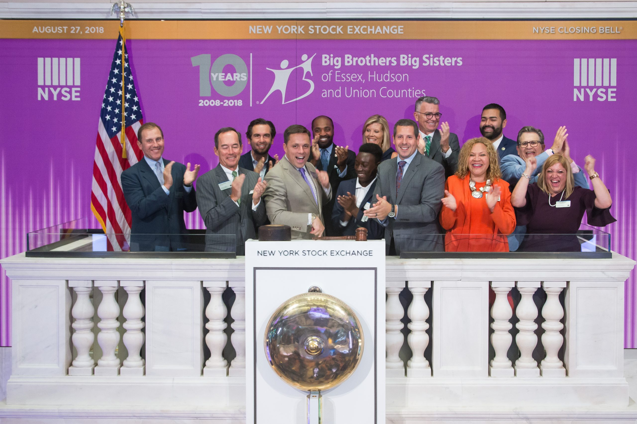 Peter McRae and Big Brothers Big Sisters rings the closing bell at the NYSE