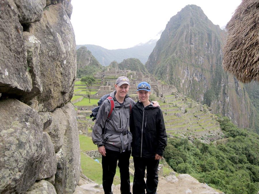 Peter and his nephew Rick hiking the Inca Trail to Machu Picchu.